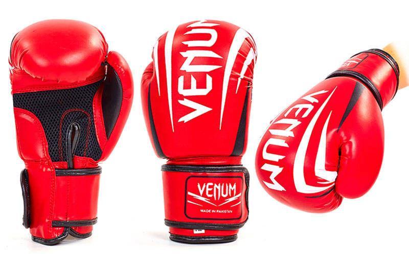 Перчатки боксерские на липучке VENUM (р-р 10-12oz, красный)