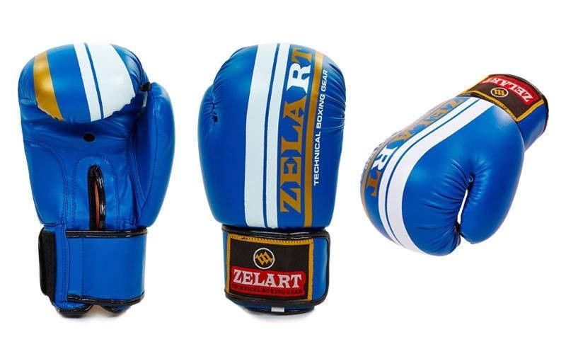 Перчатки боксерские на липучке ZELART (р-р 10-12oz, синий)
