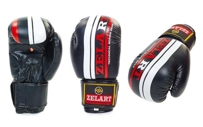 Перчатки боксерские на липучке ZELART (р-р 10-12oz, черный)