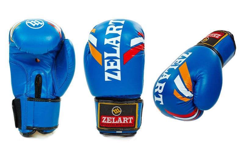 Перчатки боксерские FLEX на липучке ZELART (р-р 10-12oz, синий)