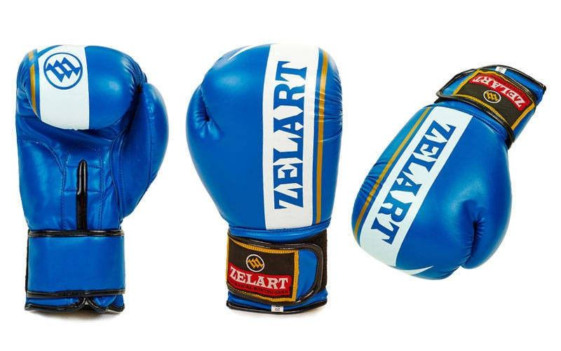 Перчатки боксерские FLEX на липучке ZELART (р-р 10-12oz, синий, черный, красный)
