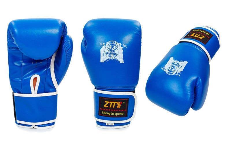 Перчатки боксерские на липучке ZTTY (р-р 12oz, синий, черный, красный)