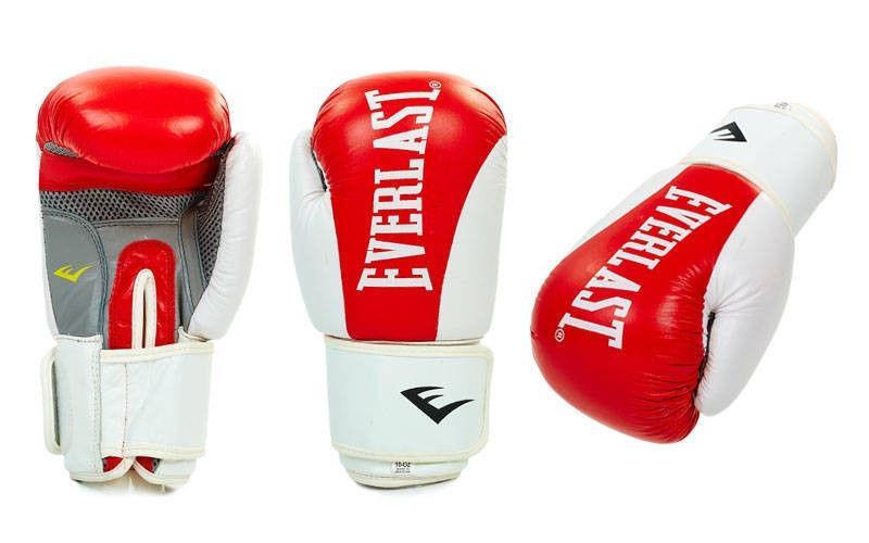 Перчатки боксерские кожаные на липучке EVERLAST (р-р 10oz, красный)