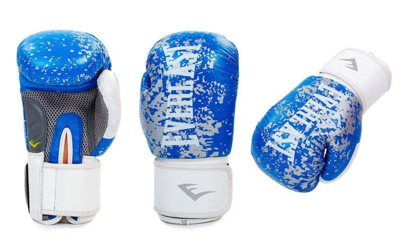 Перчатки боксерские кожаные на липучке EVERLAST (р-р 10-12oz, синий, красный, черный)