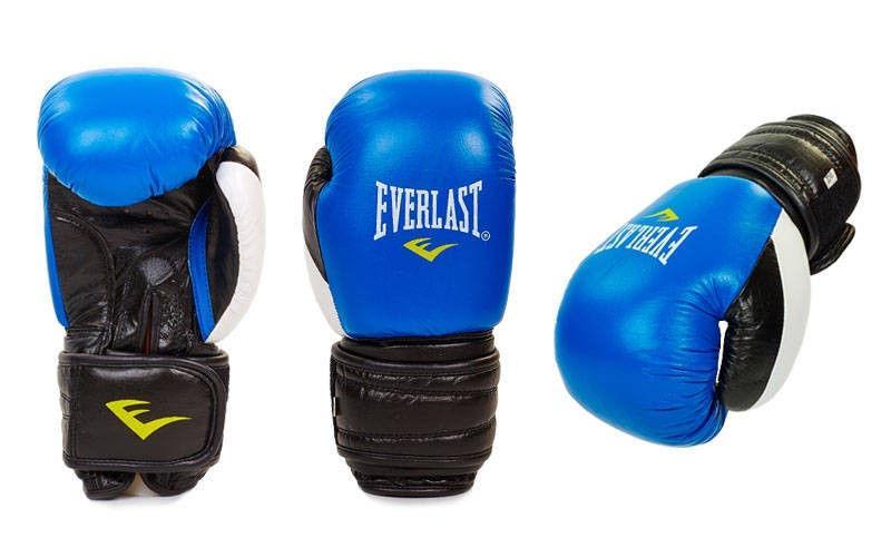 Перчатки боксерские кожаные на липучке EVERLAST (р-р 10-12oz, синий, красный)
