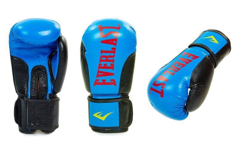 Перчатки боксерские кожаные на липучке EVERLAST (р-р 10-12oz, синий, белый, коричневый)