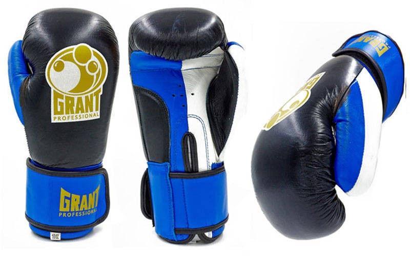 Перчатки боксерские кожаные на липучке GRANT  (р-р 10 oz, синий)