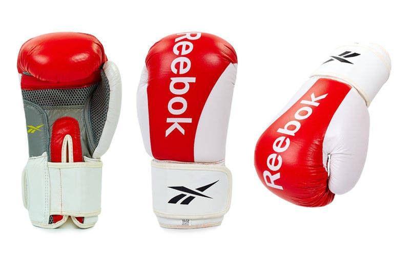 Перчатки боксерские кожаные на липучке REEBOK (р-р 10oz, красный)