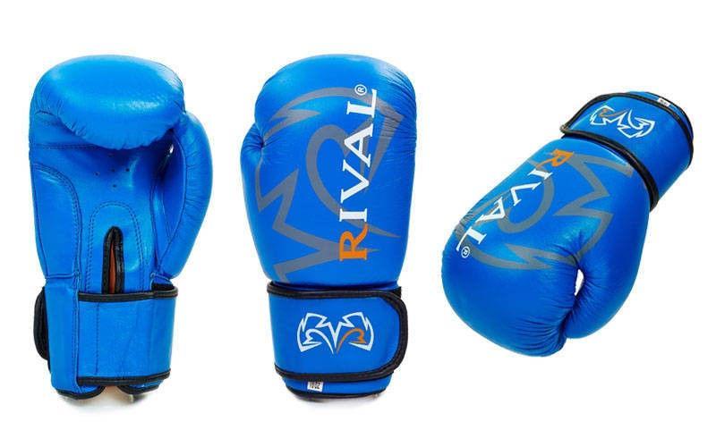Перчатки боксерские кожаные на липучке RIVAL  (р-р 10-12oz, синий, черный, коричневый, красный)