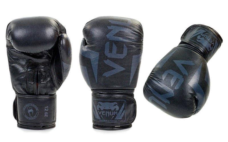 Перчатки боксерские кожаные на липучке VENUM  (р-р 10-12oz, черный, оранжевый, красный)