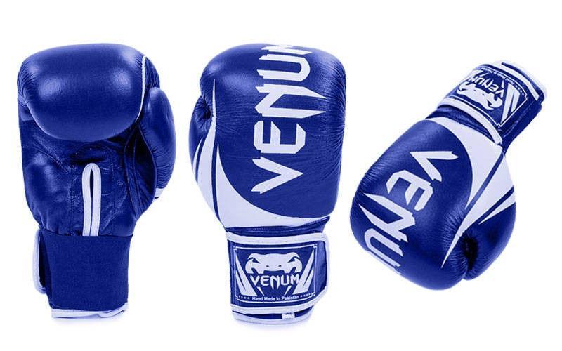 Перчатки боксерские кожаные на липучке VENUM  (р-р 10-12oz, синий, черный, зеленый, красный)