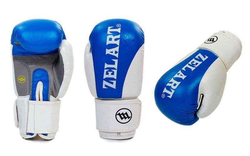 Перчатки боксерские кожаные на липучке ZELART  (р-р 10-12oz, синий, красный)