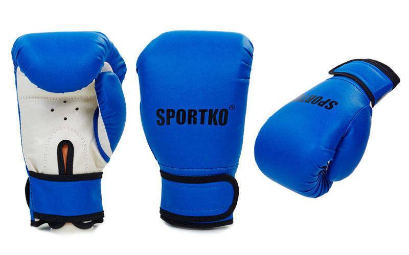 Перчатки боксерские Кожвинил на липучке SPORTKO  (р-р 8-12oz, синий)