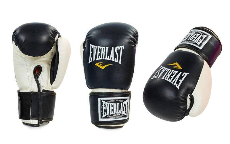 Перчатки боксерские Кожзам на липучке EVERLAST  (р-р 8-10oz, розовый, черный, красный)