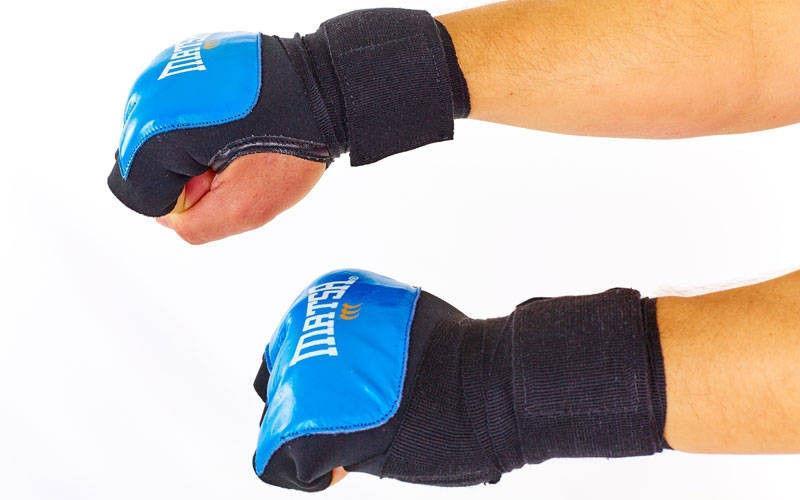 Перчатки с бинтом внутренние гелевые Кожа MATSA  (PL, р-р S-XL, на липучке, синий, красный)