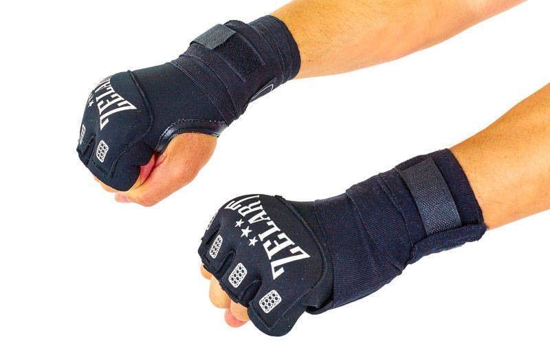 Перчатки с бинтом внутренние гелевые Неопрен ZELART  (PL, р-р S-XL, на липучке, черный)