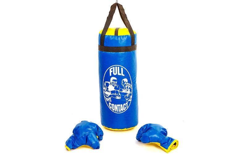 Боксерский набор детский (перчатки+мешок) L (мешок h-52см, d-20см, синий)