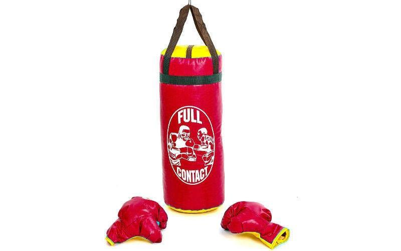 Боксерский набор детский (перчатки+мешок) L  (мешок h-52см, d-20см, красный)