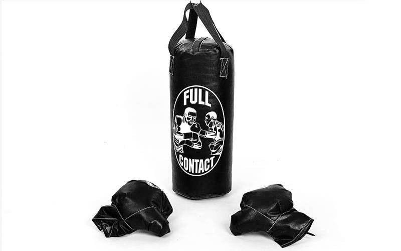Боксерский набор детский (перчатки+мешок) M (мешок h-42см, d-18см, черный)