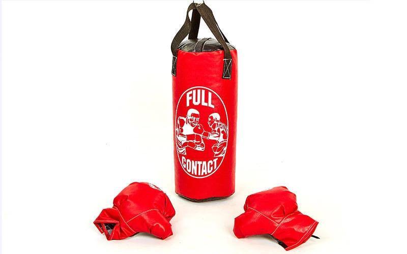 Боксерский набор детский (перчатки+мешок) M  (мешок h-42см, d-18см, красный)