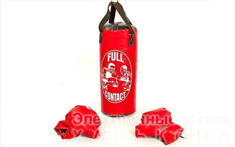 Боксерский набор детский (перчатки+мешок) M  (мешок h-42см, d-18см, красный) - Боксерские груши и снаряды на рынке Барабашова