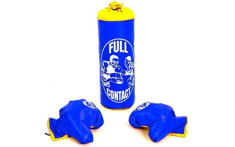 Боксерский набор детский (перчатки+мешок) S (мешок h-39см, d-14см, синий)