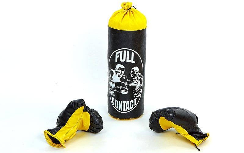 Боксерский набор детский (перчатки+мешок) S  (мешок h-39см, d-14см, черный)