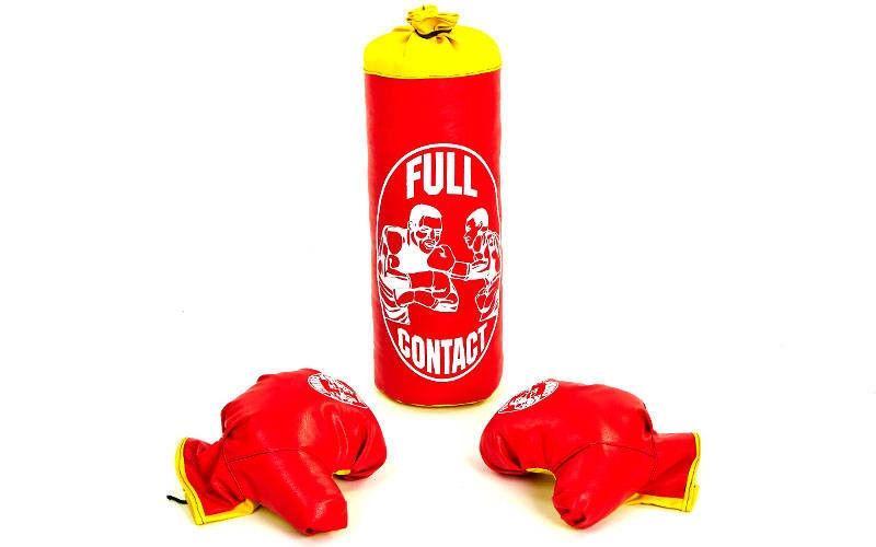 Боксерский набор детский (перчатки+мешок) S (мешок h-39см, d-14см, красный)