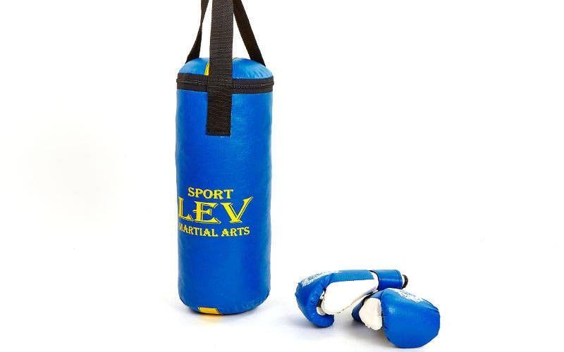 Боксерский набор детский (перчатки+мешок) ЛЕВ (мешок h-40см, d-15см, синий, красный)