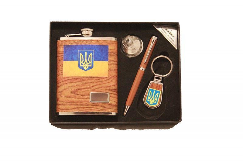 """Набор с кожаной флягой """"Украина"""" (Фляга 210мл, лейка, брелок, ручка)"""
