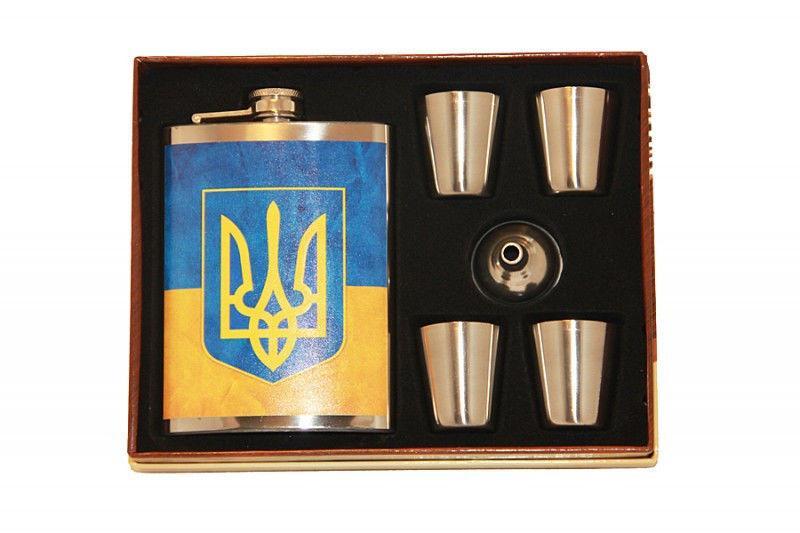 """Набор с флягой """"Украина"""" (Фляга 270мл , 4 рюмки, лейка)"""