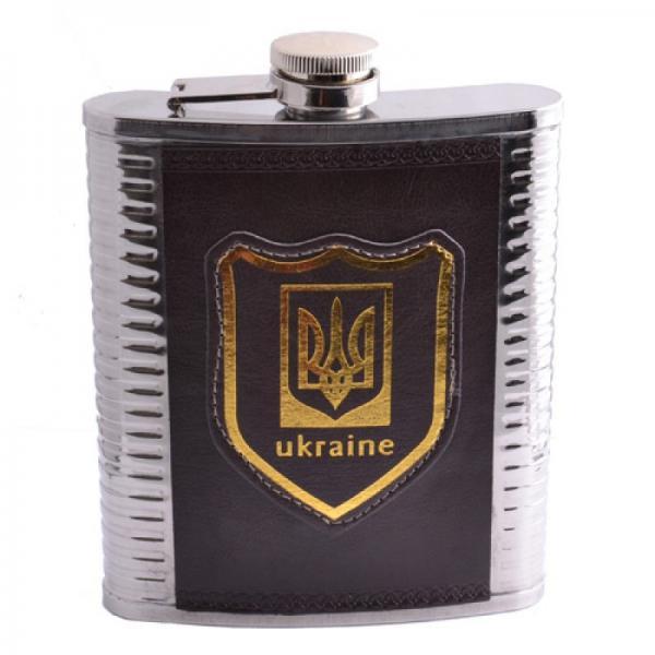 Фляга из пищевой нержавеющей стали в кожаной барсетке Украина PJ-18