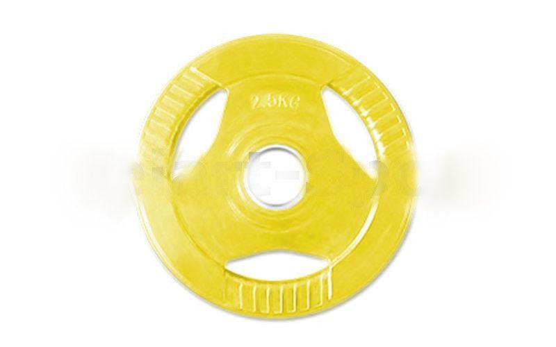 Блины обрезиненные с хватом для штанги 30 мм 2,5кг (желтые)