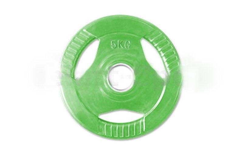 Блины обрезиненные с хватом для штанги 30 мм 5 кг(зеленые)