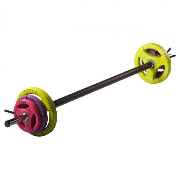 Штанга для фитнеса 20 кг (гриф l-1,3м, d-28мм, обрезин.блины 2x(1,25+2,5+5кг))