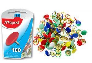 Кнопки канцелярские цветные металлические Maped, 100 шт/бокс
