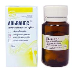 Альванес губка с хлоргексидином и метронидазолом