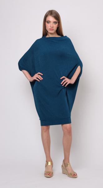 Туника-блузон асимметричного кроя из трикотажа с люрексом