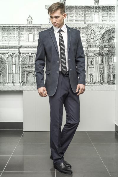 Приталенный пиджак серого цвета из стрейчевой ткани