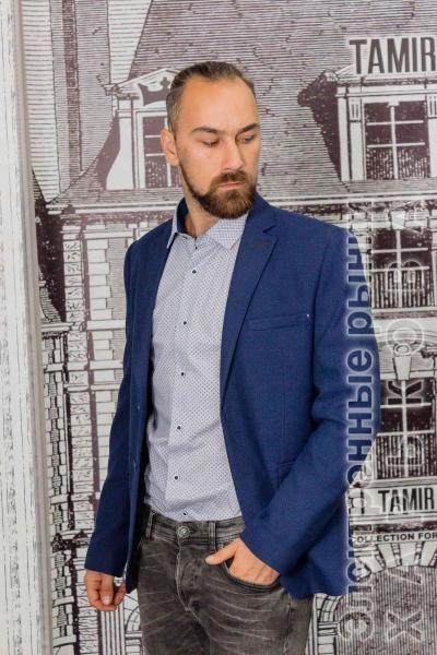 Пиджак мужской фактурный синего цвета - Пиджаки мужские на рынке Барабашова