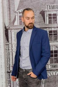 Фото Пиджаки Пиджак мужской фактурный синего цвета