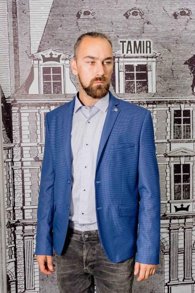 Пиджак молодежный фактурный светло-синего цвета