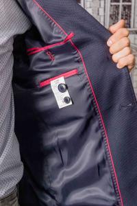 Фото Пиджаки Пиджак мужской темно-синего цвета с заплатками