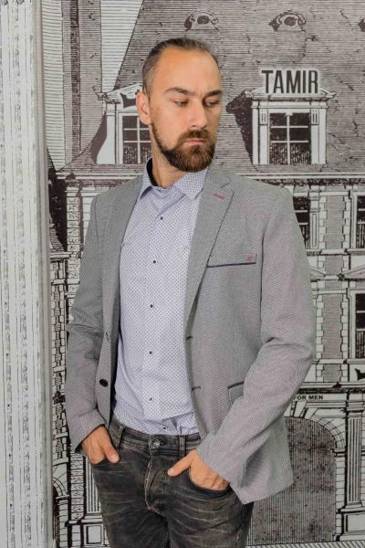 Пиджак мужской фактурный серый