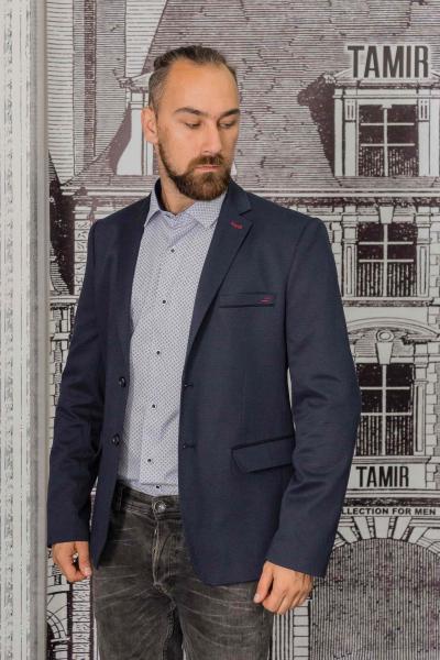 Пиджак мужской фактурный темно-синего цвета с заплатками