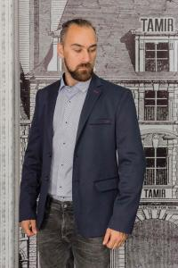 Фото Пиджаки Пиджак мужской фактурный темно-синего цвета с заплатками