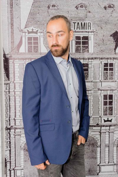 Пиджак мужской приталенный синий