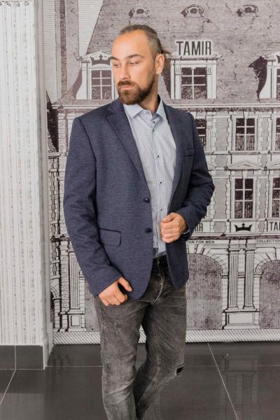 Пиджак мужской серый с заплатками