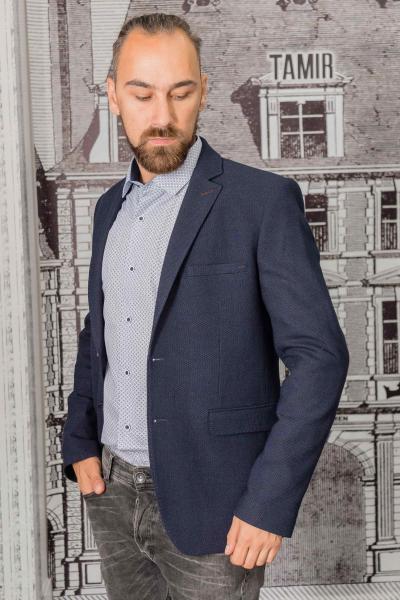 Мужской пиджак темно-синего цвета с заплатками