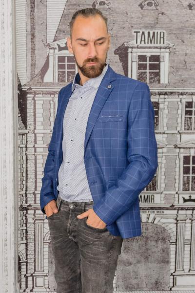 Пиджак мужской синего цвета в клетку
